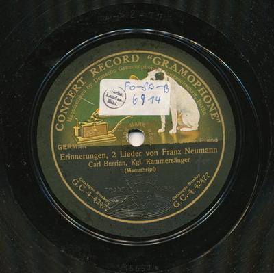 Image from object titled Erinnerungen : 2 Lieder