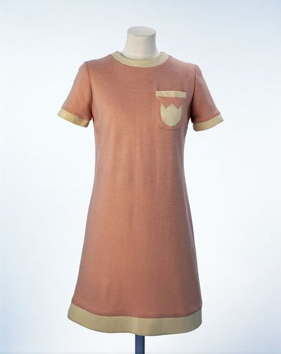 Wool jersey mini-dress, made by Mary Quant, London, 1966. Pink wool jersey mini-dress with cream trim and pocket detail.Wool jersey.