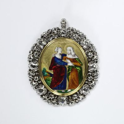 Gold enamelled pendant set with diamonds, depicting the Visitation (after Raphael, 1519), made in France, about 1600, the frame added about 1680-1700. Gold pendant set with diamonds, enamelled with the Visitation, after an...