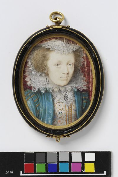 Portrait miniature of Mrs Edward Norgate, watercolour on vellum, painted by Peter Oliver, 1616-1617.  Watercolour on vellum put down on pasteboard
