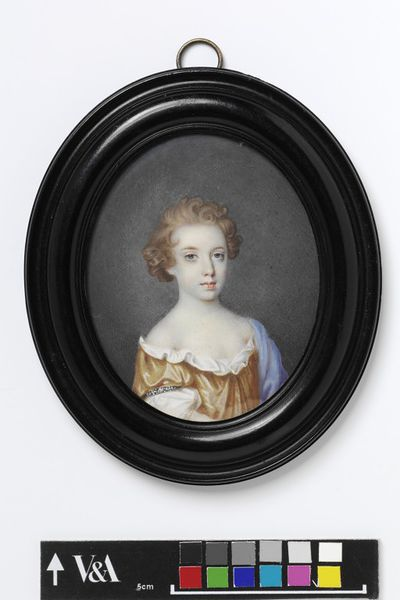 Portrait miniature of the Hon. Catherine North when a child, watercolour on vellum by Edmund Ashfield, ca. 1690.Watercolour on vellum lput down on a leaf from a table-book.