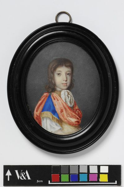Portrait miniature of the Hon. Charles North when a child, watercolour on vellum by Edmund Ashfield, ca. 1690.Watercolour on vellum put down on a leaf from a table-book