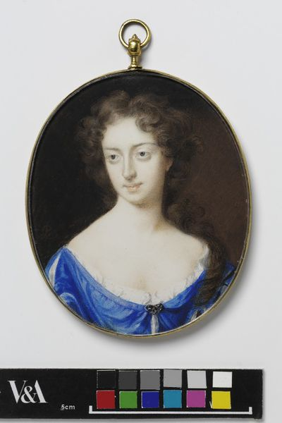 Portrait miniature of Miss Wells, watercolour on vellum, painted by Peter Cross, 1690-1700.  Watercolour on vellum put down on a leaf from a table-book