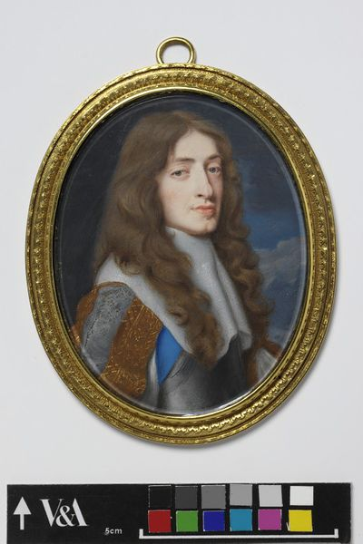 Portrait miniature of James, Duke of York, watercolour on vellum, painted by Samuel Cooper, 1660-1661.Watercolour on vellum put down on a leaf from a table-book in a gilded frame;Silver gilding and chasing