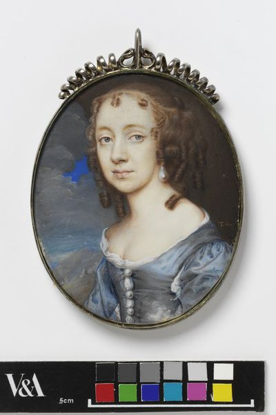 Portrait miniature of a woman, perhaps Alice Beale, ca. 1660-1665, watercolour on vellum, painted by Thomas Flatman (1635-1688).Watercolour on vellum put down on a leaf from a table-book