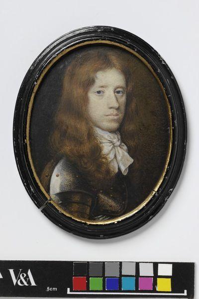 Portrait miniature of Sir William Portman, ca. 1658, watercolour on vellum, painted by Richard Gibson.Watercolour on vellum put down on pasteboard