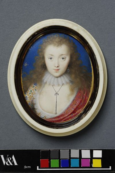 Portrait miniature on vellum of a girl, believed to be Venetia Stanley, Lady Digby, by Peter Oliver. Contained in an elliptically turned ivory lid and case. Great Britain, 1615-1622.  Miniature on vellum with ivory lid and...