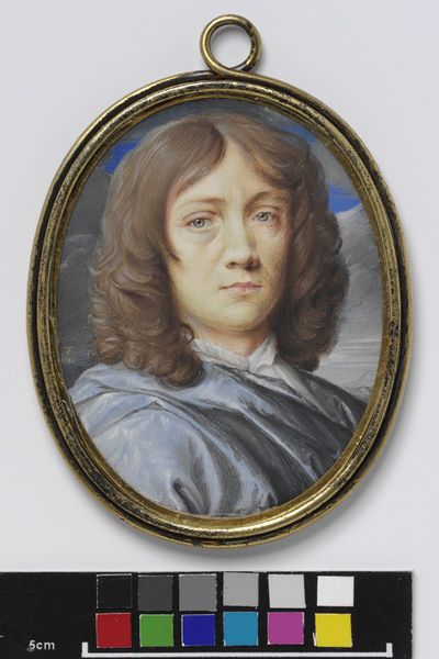 Portrait miniature, self-portrait by Thomas Flatman, watercolour on vellum, 1673.Watercolour on vellum put down on a leaf from a table-book