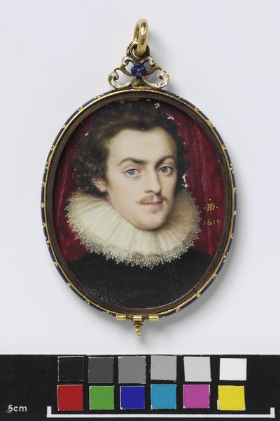 Portrait miniature of an unknown man, dated 1619, painted on vellum and contained in a gold locket, painted by Peter Oliver (1594?-1647).  Portrait miniature on vellum;Watercolour on vellum put down on pasteboard;Enamelled...