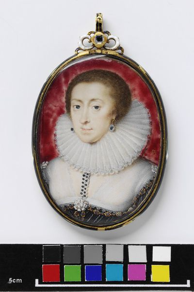 Portrait miniature of Elizabeth of Bohemia, Daughter of James I, ca. 1623-1626, watercolour on vellum, painted by Peter Oliver (1594?-1647).  Watercolour on vellum put down onto pasteboard