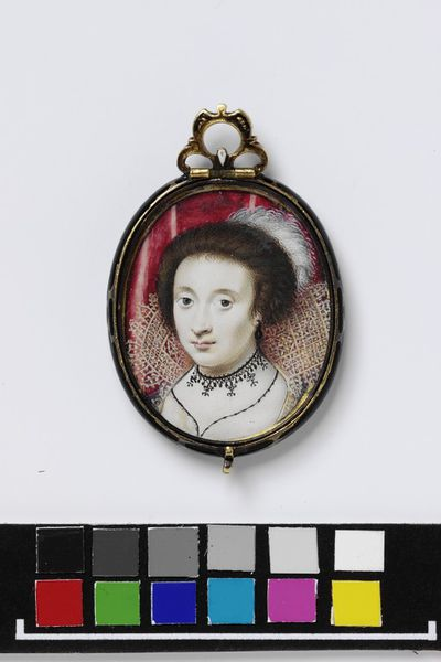 Portrait miniature of an unknown woman in an oval locket, watercolour on vellum, painted by Peter Oliver, early 1620s. Lid from an original 17th century silver-gilt locket, in which is framed miniature,...