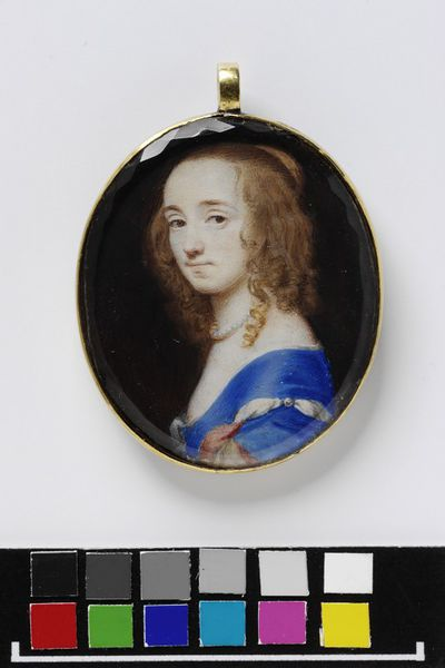Portrait miniature of an unknown woman, formerly called Princess Elizabeth, watercolour on vellum, painted by Samuel Cooper, ca. 1648.Watercolour on vellum put down on a leaf from a table-book