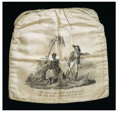 Printed silk reticule bag, designed by Samuel Lines, made by Female Society for Birmingham, Birmingham, ca. 1825. White silk reticule bag. Printed on the front in black with a scene of a black woman sitting under a tree...