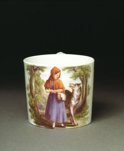 Porcelain mug, transfer-printed and overpainted in enamels, from a design by Thomas Webster, made by Minton & Co., Stoke-on-Trent, England, ca. 1847