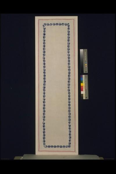 Long rectangular linen table runner with silk embroidery, designed by Richard Riemerschmid, Germany, 1904