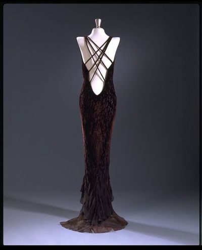 Silk and devoré viscose velvet evening dress, designed by Maria Grachvogel, England, 1996.