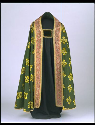 Cope and hood of woven silk and velvet, and with a pair of morses, designed by A.W.N. Pugin, Great Britain, ca. 1848.Cope and hood of green woven silk and velvet, and with a pair of morses.Woven silk and velvet.