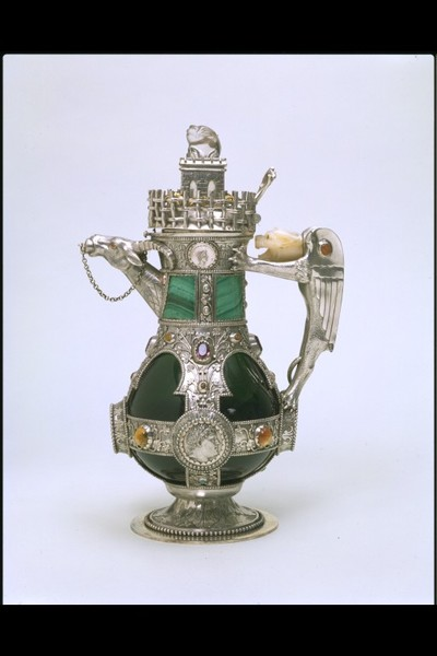 Decanter designed by William Burges, glass bottle with silver-gilt mounts,  London,1865-1866.