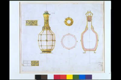 William Burges. Design for a decanter with gold and jewelled mounts and painted decoration. English, 14 July 1867.