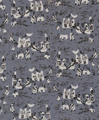 Dress fabric of screen-printed spun rayon, designed by Julian Trevelyan for Ascher Ltd., London, 1946.