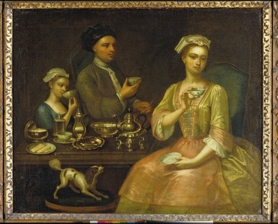 A Family of Three at Tea; A Family of Three at Tea