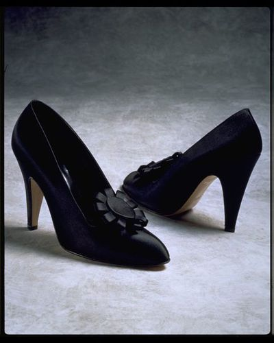 Pair of slipper satin evening shoes, designed by Manolo Blahnik, London, 1978-1982.