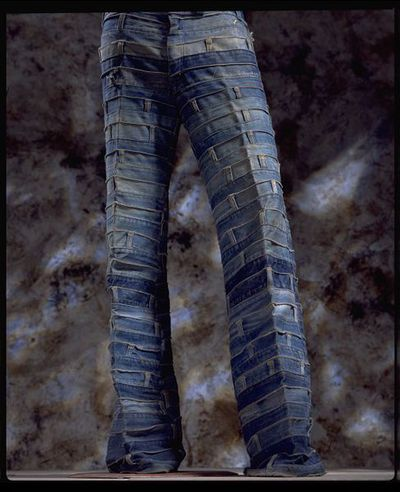 Image from object titled Jeans, patched denim waistbands, designed by Andrew Yiannakou British (London), late 1960s, Hippy style, UK, 1971.