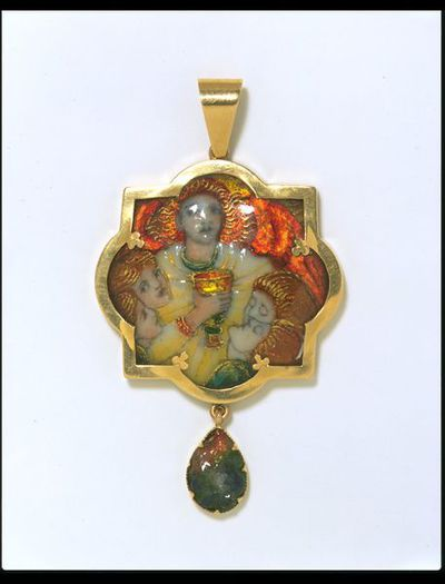 Pendant, 'The Love Cup', enamel with foil on copper, set in gold, with an enamel tear drop, Edinburgh, 1902.Enamel with foil on copper, set in gold, with an enamel tear drop.