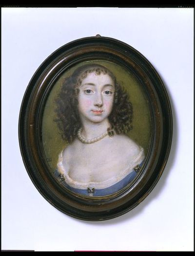 Portrait miniature of a woman, perhaps Elizabeth Capell, Countess of Carnarvon, watercolour on vellum, painted by Richard Gibson, 1653-1657.Watercolour on vellum put down on pasteboard