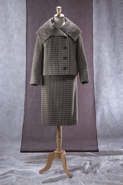 Wool tweed suit comprising a jacket and skirt, designed by Ronald Paterson, London, late 1950s.