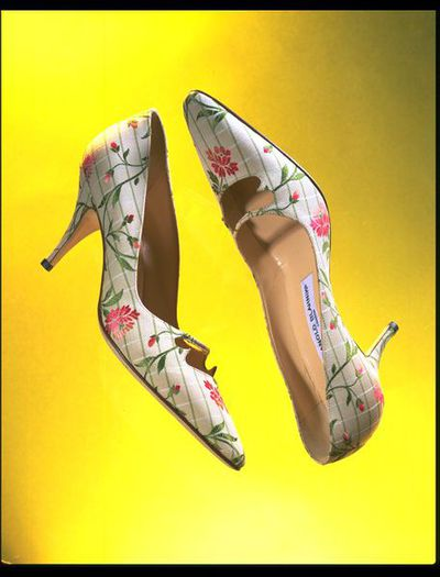 Brocaded silk evening shoes, designed by Manolo Blahnik, Great Britain, 1996.