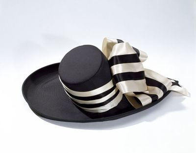 Woman's, black silk brim and crown trimmed with satin loops in cream and black, John Boyd, British, 1990s.