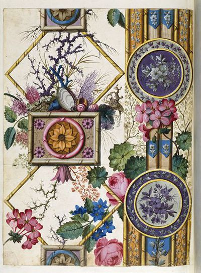 Design from an album of designs for printed textiles (1788-1792) by William Kilburn.  painted in watercolour on paper