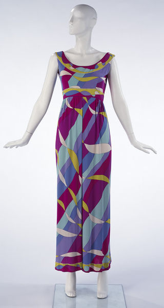 Evening all-in-one pyjama dress made of printed silk jersey, designed by Emilio Pucci, Italy, ca. 1968.