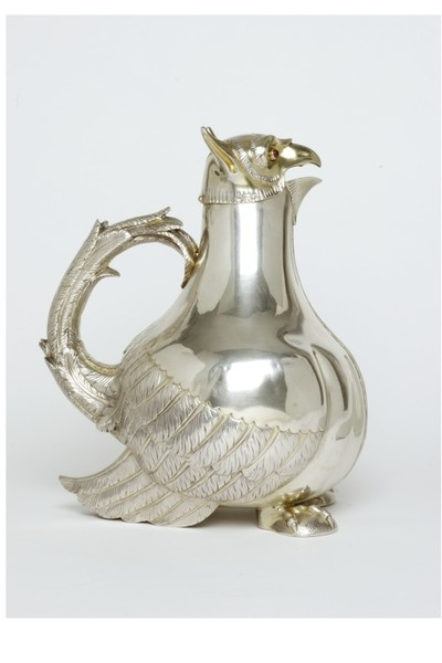 Claret jug, silver, parcel-gilt, ruby glass, London hallmarks for 1877-8, mark of George Fox