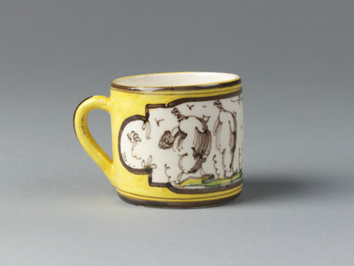Coffee can, probably made at the factory of Giacomo Boselli, Savona, Italy, about 1790, cream-coloured earthenware painted in enamel colours