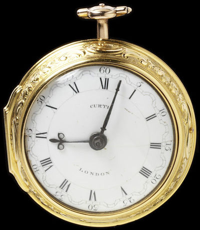 Gold watch and pair case, the watch signed 'Jno. Curtis, London, 5921', the pair case embossed and chased with The Presentation in the Temple, after Augustin Heckel, casemaker's mark 'IW' and London hallmarks for...