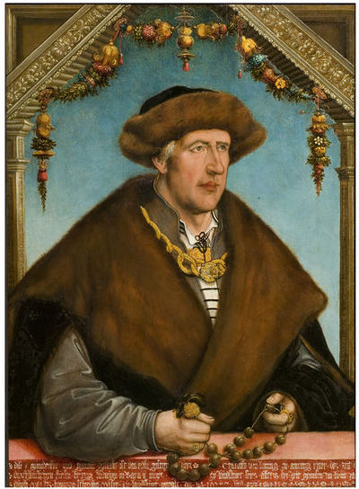 Oil on spruce panel, portrait of a man facing to his left, wearing a fur cape and a fur hat.Oil on spruce panel
