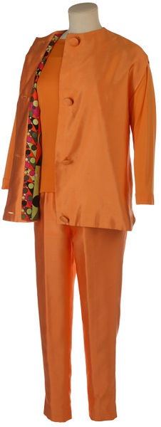 Silk trouser suit consisting of tapered trousers, satin tunic and jersey jumper, designed by Pucci, Italy, 1962-1966.