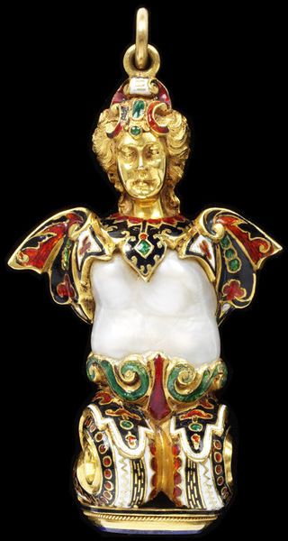 Image from object titled Mermaid pendant, gold, enamel and a baroque pearl, the base set with lapis-lazuli, Western Europe, 1860-80.Pendant with enamelled gold figure, the body formed around a baroque pearl. The base is...