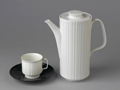 White cup and black saucer of glazed porcelain, designed by Tapio Wirkkala, made at Rosenthal AG, Selb, 1963.