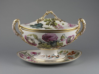 Soup-tureen, cover and stand, soft-paste porcelain, oval, painted with botanical designs in enamel colours and gilded. Derby, about 1796.