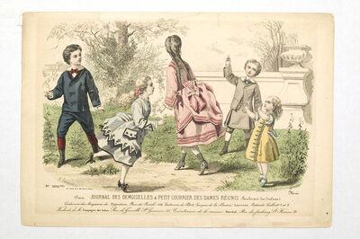 Image from object titled Fashion plate, 'Journal des Desmoiselles et Petit Courrier Des Dames Réunis', 1799-1800.