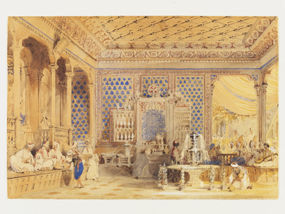 Interior of a Turkish Caffinet, Constantinople; Interior of a Turkish Coffee House, Constantinople
