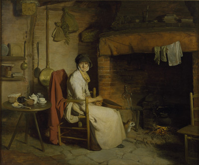 A Cottage Interior: An Old Woman Preparing Tea