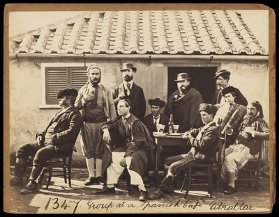 19thC, Frith F. Group at a Spanish Cafe, Gibraltar 1347
