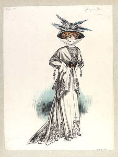 Image from object titled White day outfit designed by Paquin for the Summer collection of 1907. This white day outfit was designed for the Summer collection of 1907. The model is wearing an elaborate black hat with blue...