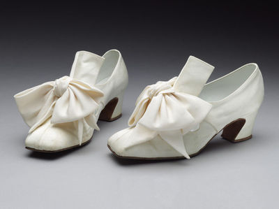 Pair of wedding shoes, designed by Patrick Cox, London, 1987.