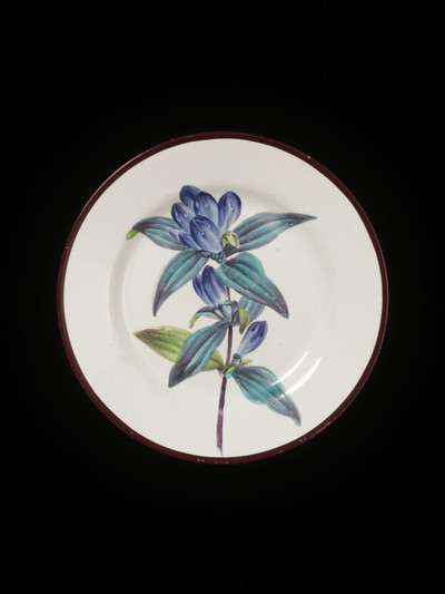 Plate, creamware, painted in enamels, Swansea Pottery, decorated by Thomas Pardoe, ca. 1800