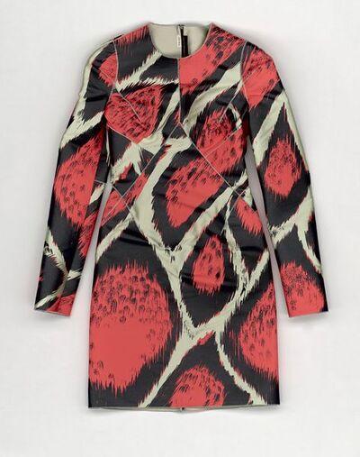 Dress, neon leopard print, designed by Giles Deacon, England, A/W 2009. Pale green silk twill dress with screen printed leopard skin pattern in neon orange and black.Silk.